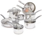 $119 T-fal C836SD Ultimate Stainless Steel Copper-Bottom Heavy Gauge Multi-Layer Base Cookware Set, 13-Piece, Silver