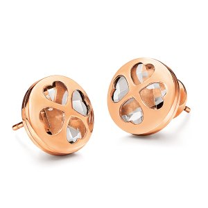 HEART4HEART WIN EARRINGS Rose Gold Plated - 3E13T019RC