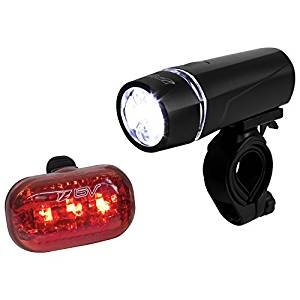 $7.99 BV Bicycle Light Set Super Bright 5 LED Headlight, 3 LED Taillight, Quick-Release
