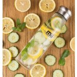 MIU COLOR® Portable BPA and PVC Free Glass Water Bottle with Tea Infuser and Nylon Sleeve