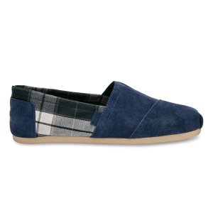 Navy Suede Black Plaid Men's Classics | TOMS