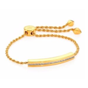Monica Vinader Linear Diamond Chain Bracelet/Goldtone