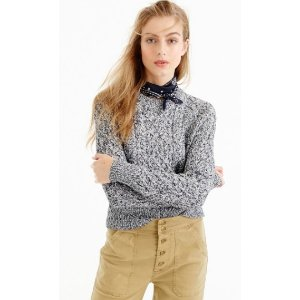 Marled cable crewneck sweater