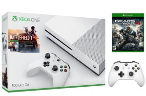 Start!$249.99 Xbox One S 500 GB Battlefield 1 bundle + Gears of War 4 + extra wireless controller (white)