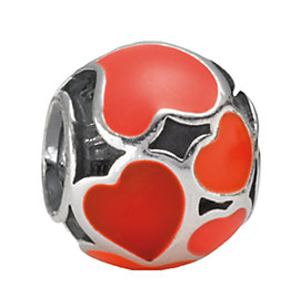 Rue La La — PANDORA Silver Enamel Red Hot Love Charm