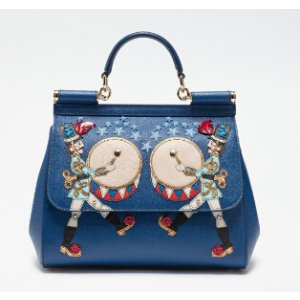 MEDIUM SICILY BAG IN DAUPHINE LEATHER WITH APPLIQUÉS