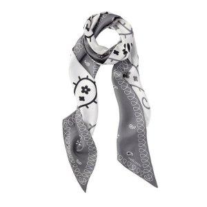 silk scarf blue heron print