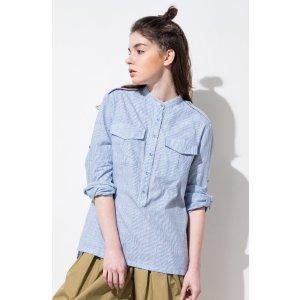 FRS Blue Stripe Band Collar Shirt