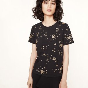 TERENCE T-shirt with golden embroidery - T-shirts - Maje.com