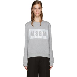 MSGM: Grey Boxed Reflector Sweatshirt |
