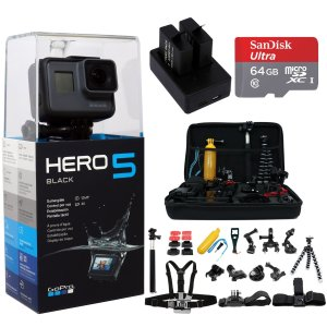 GoPro HERO5 Black Edition+64GB, 2 Battery, charger, mounts + 33pcs Kit