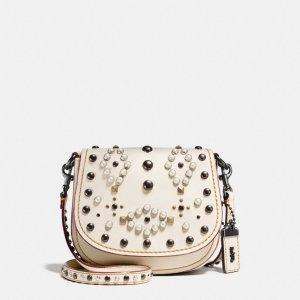 Western Rivets Saddle Bag 17 In Glovetanned Leather