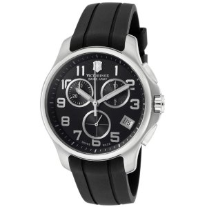 Victorinox Swiss Army Men's Officer's Chronograph Black Dial Black Rubber | World of Watches