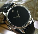 $179.99 Movado Museum Black Dial Black Leather Strap Mens Watch 2100002