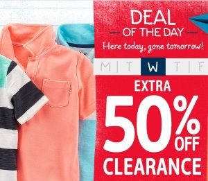 Extra 50% Off Clearance Today Only! Flash Sale @ OshKosh
