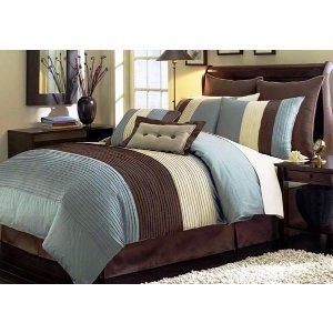Blue Pleated King Size Comforters   Sofa Mania - 7PC-PLEAT-BLU-K - Sofamania