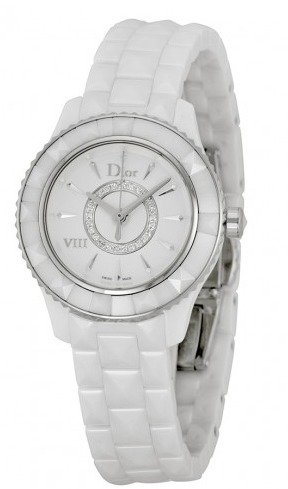 Extra $650 OffDior VIII Diamond Silvered Dial White Ceramic Ladies Watch CD1221E2C001
