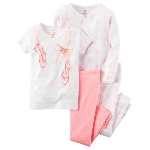 Baby Girl Carter's 4-pc. Graphic & Print Pajama Set