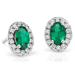 Emerald and Pavé Diamond Halo Earrings in 18k White Gold (6x4 mm) | Blue Nile