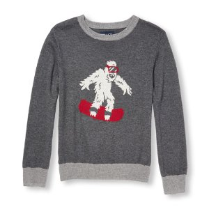 Boys Long Sleeve Snowboard Yeti Sweater   The Children's Place