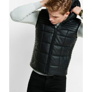 leather hooded puffer vest