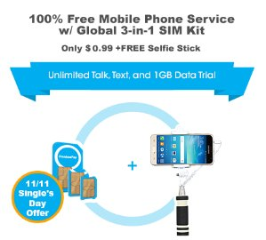 Cyber Week! $0.99 FreedomPop 100% Free Mobile Phone Service with Global 3-in-1 SIM Kit