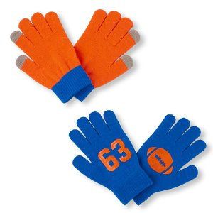 Boys Football '63' And Solid Texting Gloves 2-Pack | The Children's Place