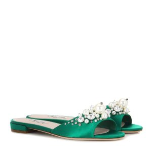 Miu Miu - Embellished satin slip-on sandals