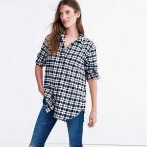 Flannel Oversized Side-Button Shirt in Bridgeport Plaid