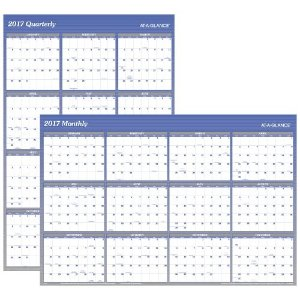 At-A-Glance 2017 Reversible Erasable Wall Calendar, Blue, 48 x 32 in. | Jet.com