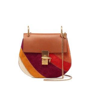 Chloe Drew Patchwork Suede Shoulder Bag, Caramel
