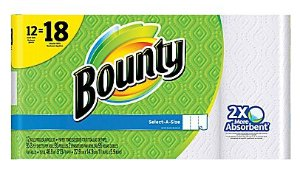 $14.99 Bounty Select-A-Size Paper Towels, 12 Giant Rolls = 18 Regular Rolls