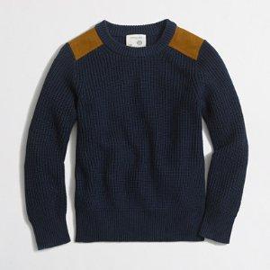 Boys' shoulder-patch crewneck sweater : Crewnecks | J.Crew Factory