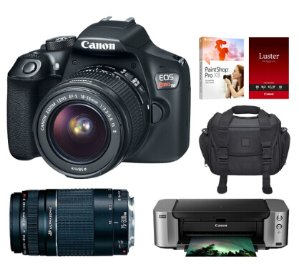 $349 Canon EOS Rebel T6 18MP DSLR Camera w/ 18-55mm + 75-300mm Lenses + Pro 100 Printer Kit
