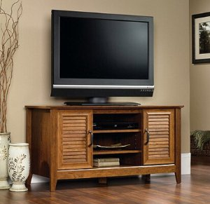 $86Sauder Milled Cherry Panel TV Stand for TVs up to 47
