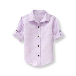 Baby Boy Light Lavender Roll-Cuff Linen Shirt at JanieandJack