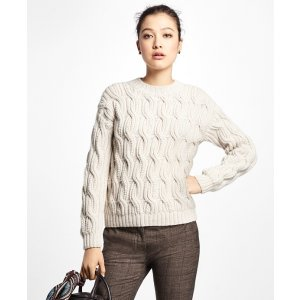 Alpaca Handknit Cable Sweater - Brooks Brothers