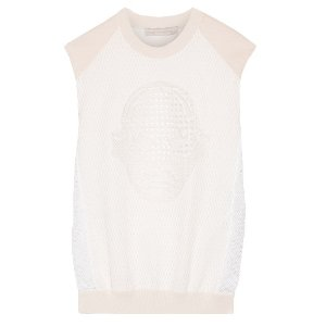 Stella McCartney Superstellaheroes jersey-trimmed embroidered mesh top