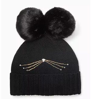 $51(reg.$68) kate spade cat beanie with faux fur pom