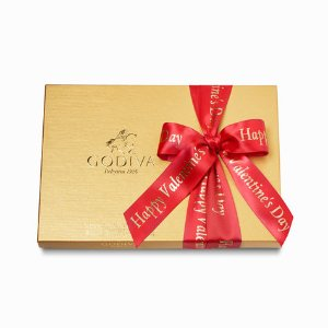 Happy Valentine's Day Assorted Chocolate Gold Gift Box, 36 pc. | GODIVA