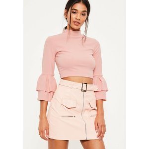 PINK FRILL SLEEVE HIGH NECK CROP TOP - Missguided
