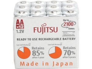 Fujitsu 12-Pack AA 2100 Cycles Ni-MH Pre-Charged Rechargeable Batteries
