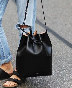 $395 Mansur Gavriel  Black Leather Mini Mini Bucket Bag @ SSENSE
