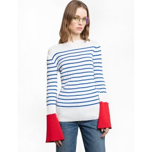 Red Bell Cuff Striped Sweater