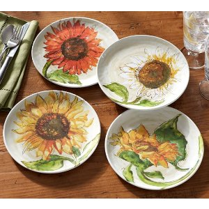 Sunflower Melamine Salad Plates, Mixed Set of 4 | Pottery Barn