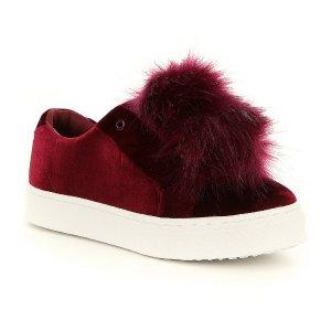 Sam Edelman Leya Velvet Faux Fur Pom-Pom Sneakers | Dillards