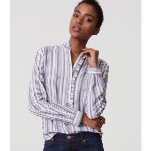 Striped Ruffle Henley Shirt | LOFT