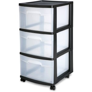 $19.94 Sterilite 3 Drawer Cart- Black, Case of 2
