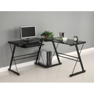 $81.42 Walker Edison Soreno 3-Piece Corner Desk, Black with Black Glass