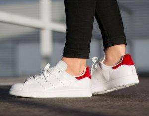 adidas Originals White And Red Stan Smith  @ ASOS